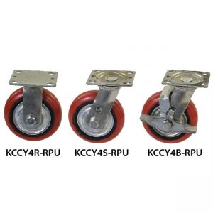 4 inches KCCY Medium Duty Red PU Wheel Castor KCCY4RSB-RPU_resize